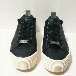 DKNY Black Leather Lace Up Platform Chunky Sneaker